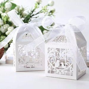 BIRD CAGE HOLLOW LAZER CUT WEDDING FAVOR BOXES x30